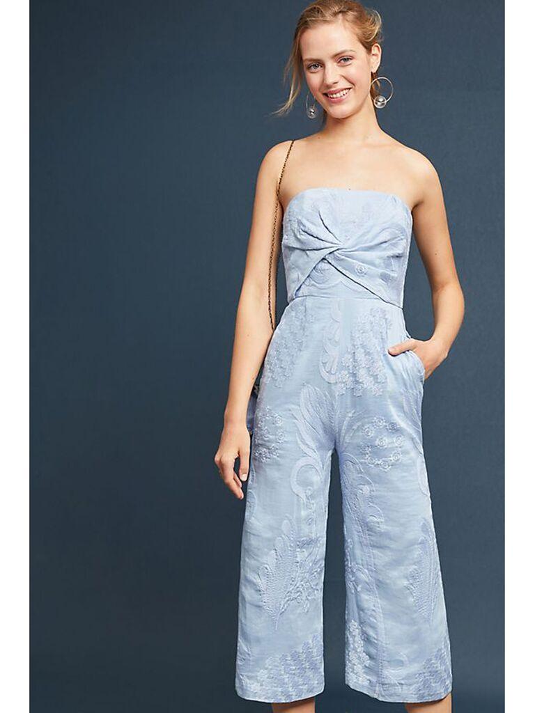 light blue embroidered jumpsuit
