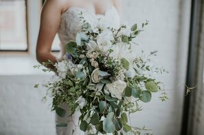 Cascading Eucalyptus, Peony and Sweet Pea Bouquet