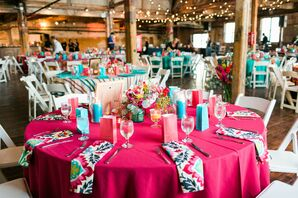 Colorful Reception Table Linens and Napkins