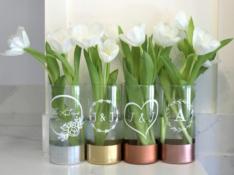 Custom silver vase 16th anniversary gift