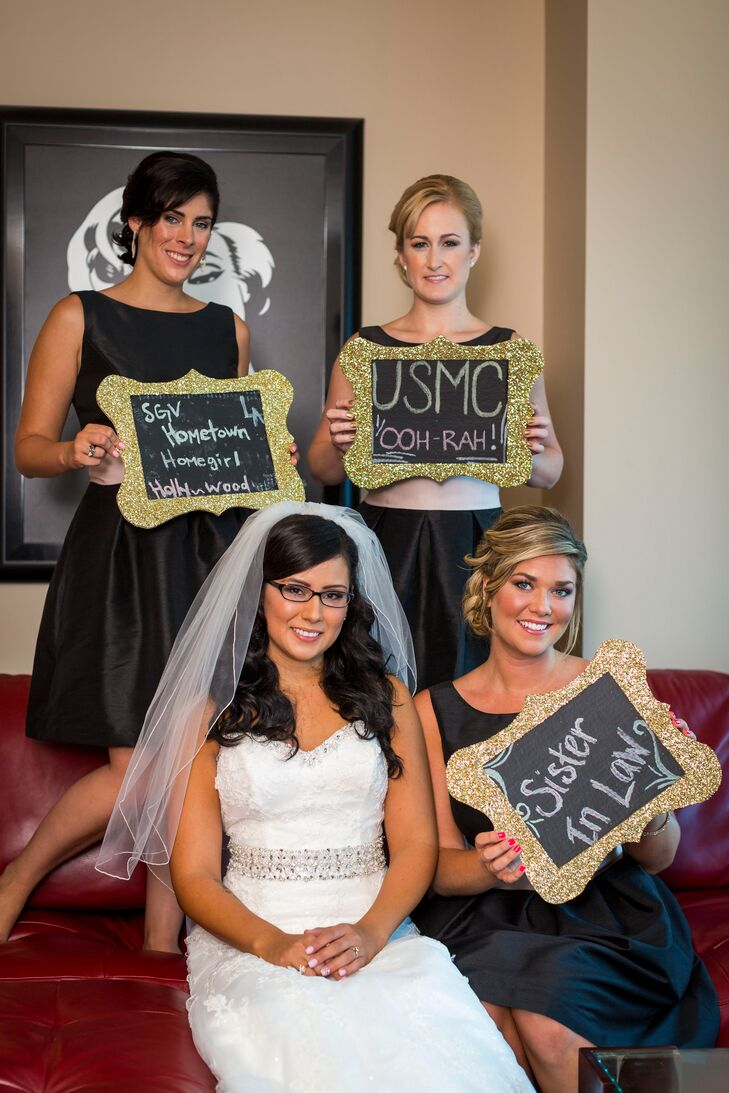 Black and Gold Chalkboard Bridesmaid Signs