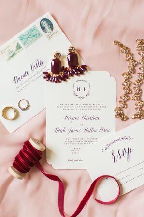 Whimsical Burgundy and White Wedding Invitations