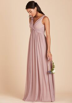 Birdy Grey Lianna Mesh Dress in Mauve V-Neck Bridesmaid Dress