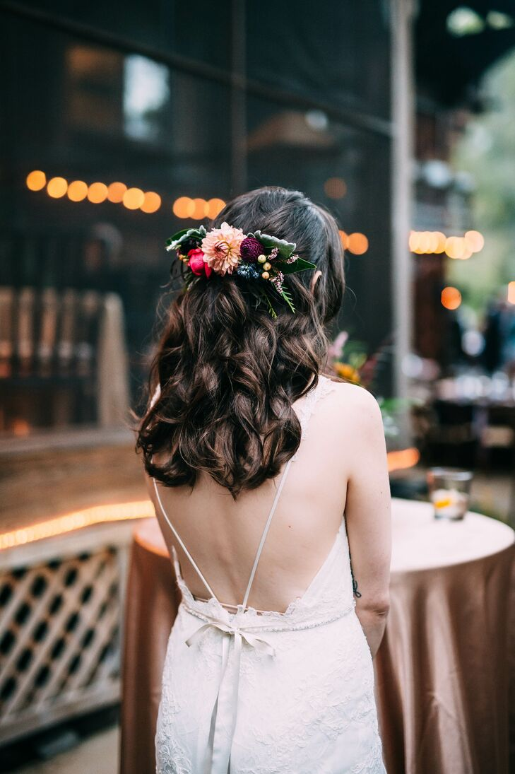 Open Back Bridal Gown and Floral Barette