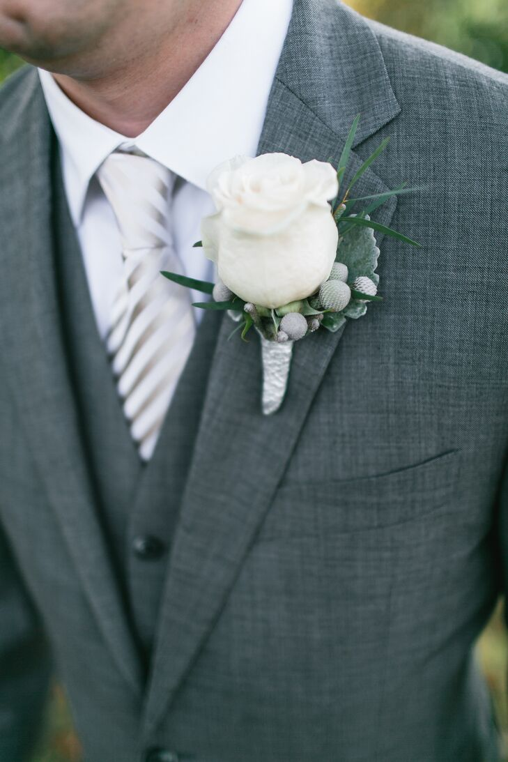 Gray Tuxedo with White Rose and Berry Boutonniere