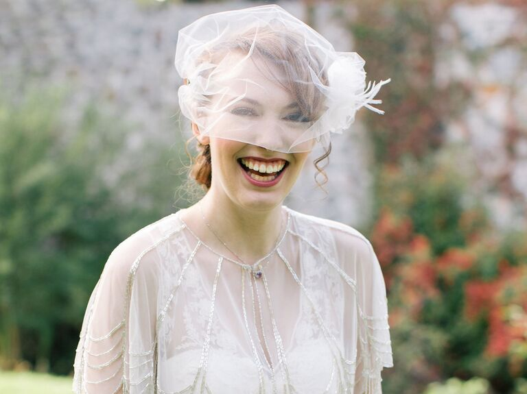birdcage veil with feather detail