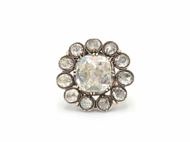 Antique rose cut diamond button cluster ring in silver topped yellow gold