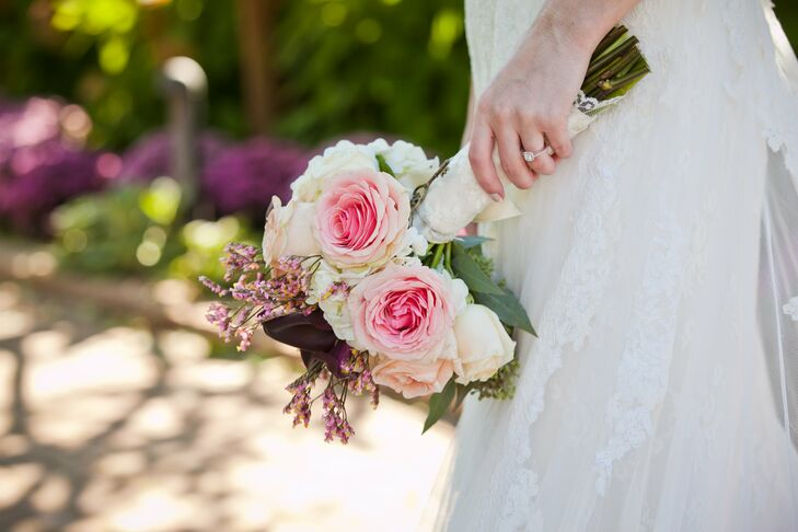 Lush pink roses were the focal point of Kristen's hand-tied bouquet.