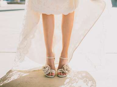 bride with pedicure