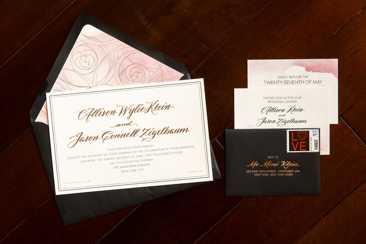Red Bliss Design took the reigns on the couple's wedding stationery. Their elegant modern design set the stage for Allison and Jason's flower shop theme with watercolor floral envelope liners and rose gold script font.