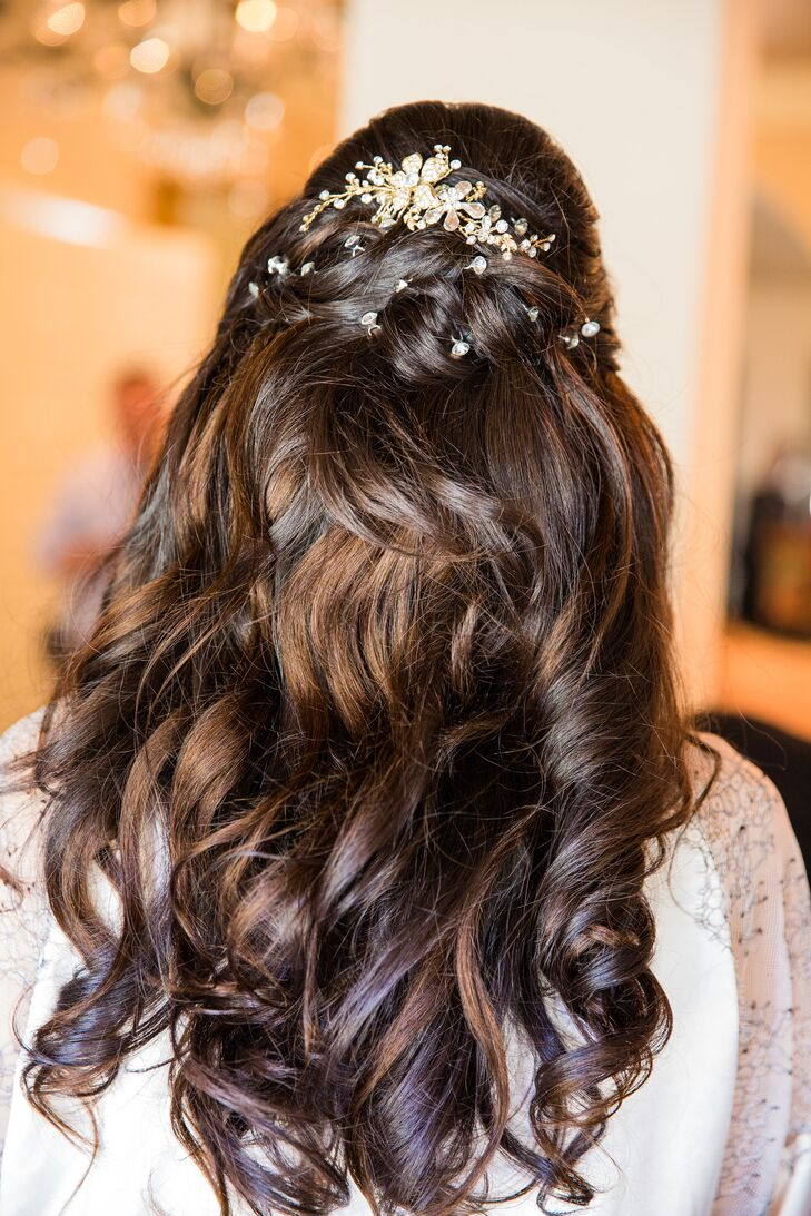 Half-Up Hairstyle with Jeweled Comb