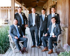Gray Groomsmen Suits and Cowboy Boots