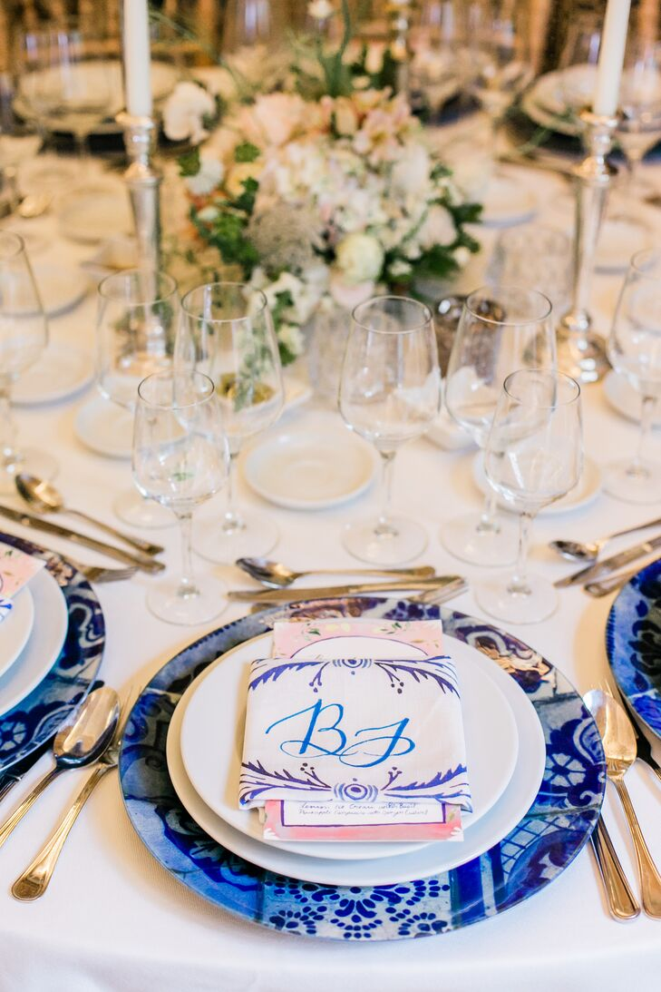 Elegant Place Setting with Blue Charger, Menu and Monogram