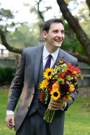 Fall-Inspired Wildflower Bouquet With Sunflowers