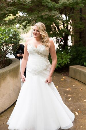 Glamorous Strapless Fit-and-Flare Wedding Gown