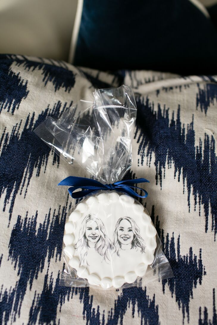 Cookie Wedding Favor with Portrait Illustration