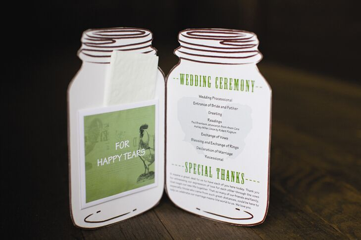 Shaped like Mason jars, the unique programs included tissues for any happy tears the guests shed.