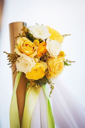Bright Yellow and White Aisle Post Decorations