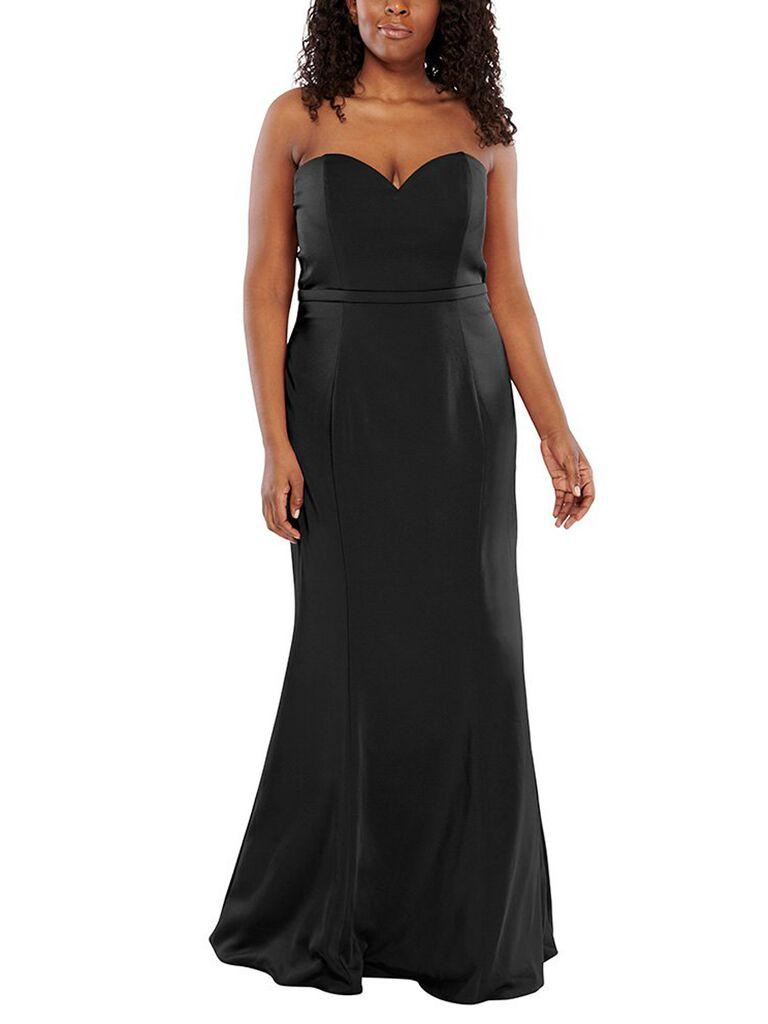 Black strapless plus size bridesmaid dress