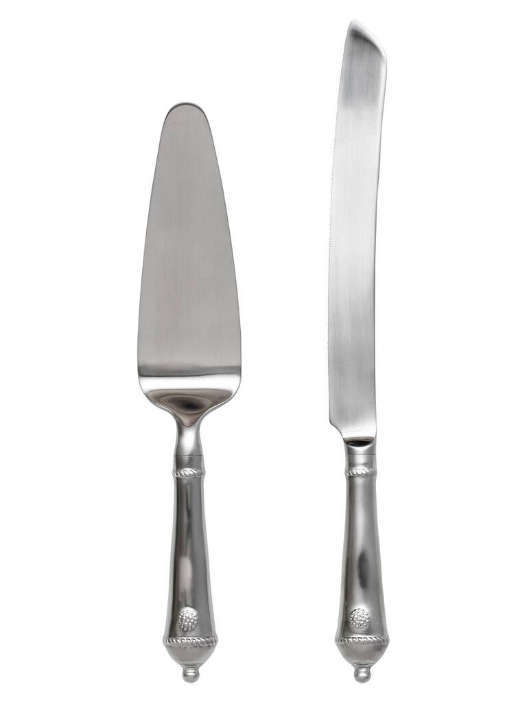 Patterned wedding cake knife and server
