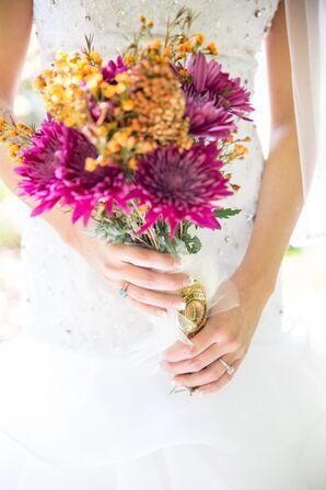 Seasonal Purple and Orange Bridal Bouquet