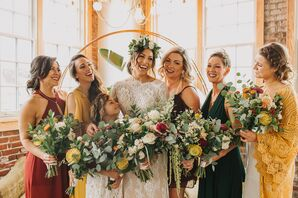 Eucalyptus and Bright Pincushion Flower Bouquets