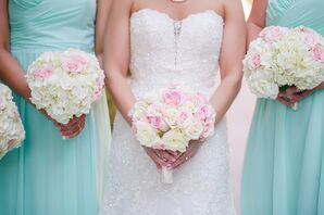 Blush and Ivory Hydrangea and Rose Bridesmaid Bouquets