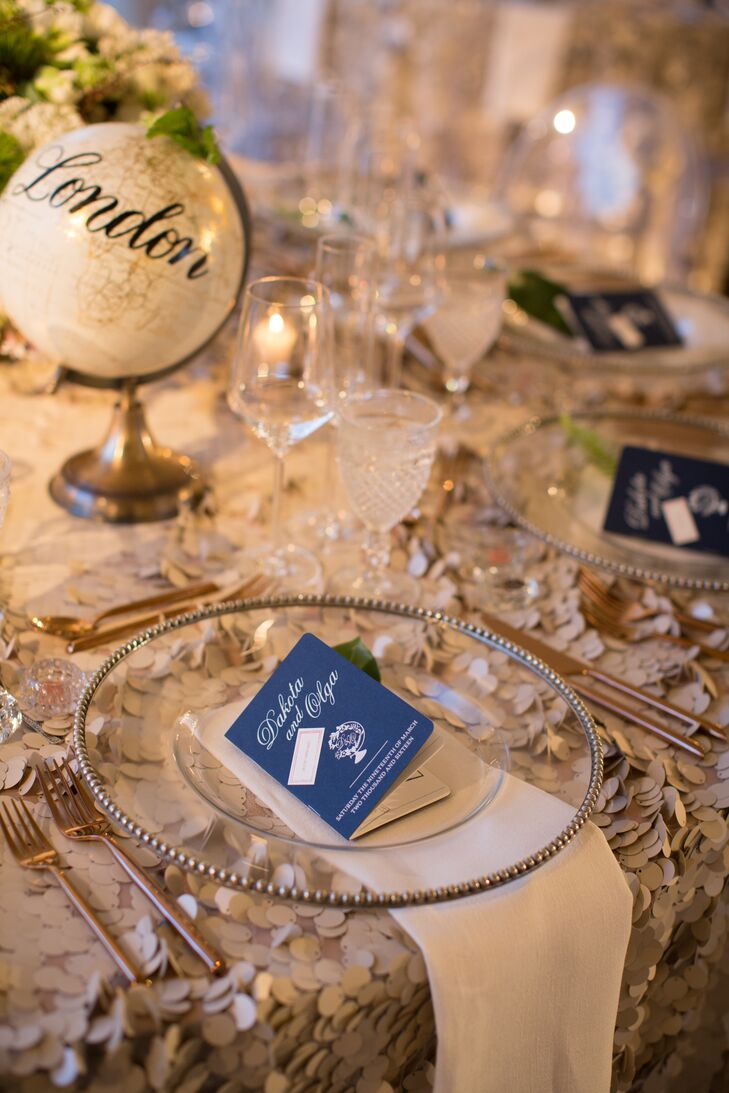 The travel theme was incorporated throughout the decor, including hand-painted miniature globes for table numbers and passports for menus.