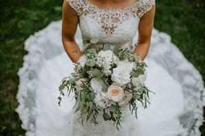 Romantic Eucalyptus, White Rose and Peony Bouquet