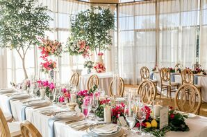 Glamorous Dining Tables with Colorful Flowers at The Resort At Pelican Hill in Newport Coast, CA