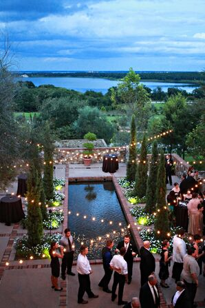 Outdoor Reception Landscape with String Lights