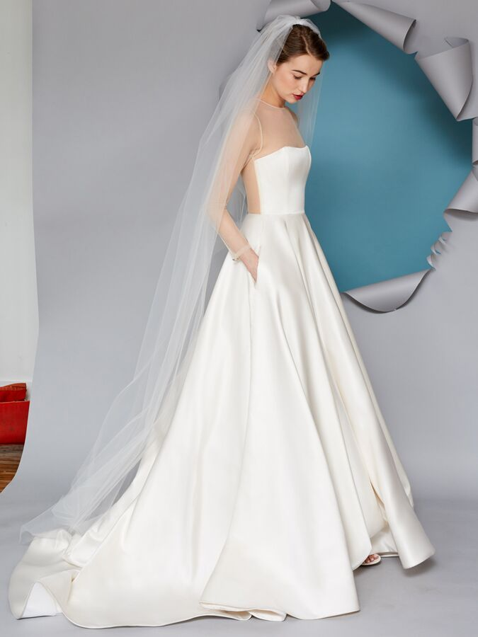 Gracy Accad A-line wedding dress with illusion neckline