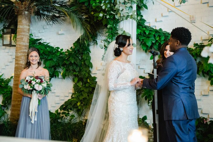 Patio Ceremony against a Backdrop of Greenery