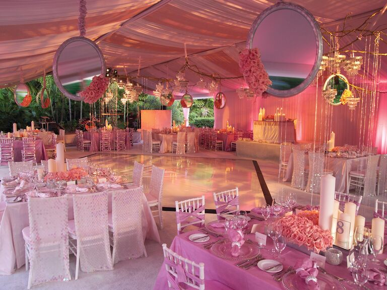 Diann Valentine's pink mirror reception decor