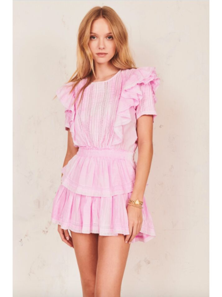 Pink ruffled mini dress with tiered skirt
