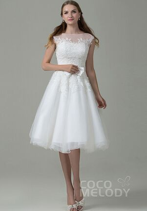 Empire One Shoulder Tea Length Wedding Dress