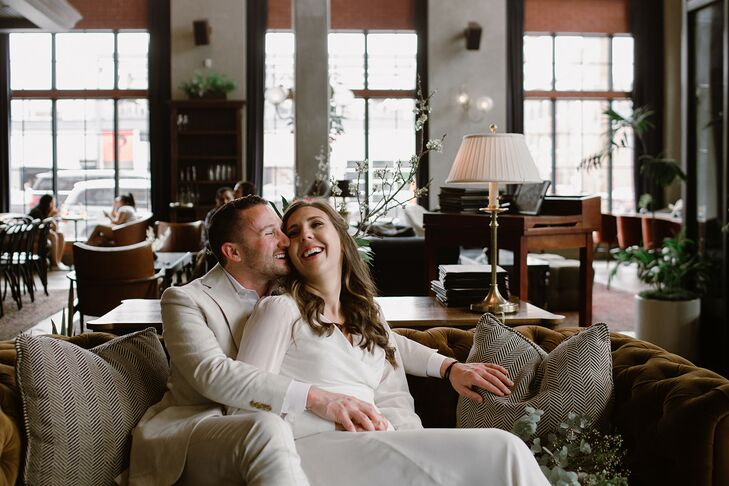 "Monica and Andy Ward tied the knot at The Ramble Hotel, a 50-room boutique hotel with elegant decorations and a deep color palette.  ""We were engaged"