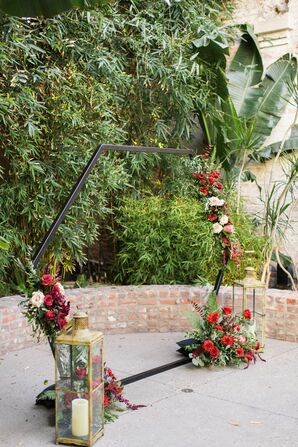 Modern Hexagon Wedding Arch with Red Flowers