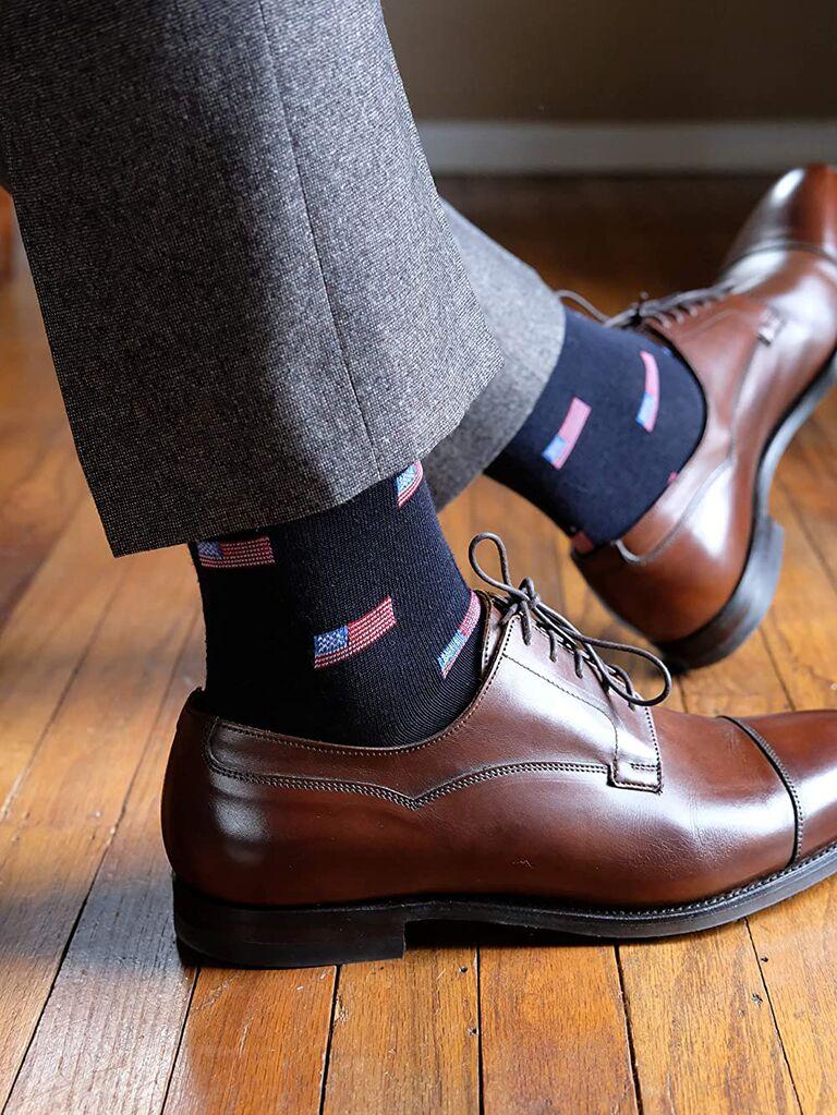 American flag groomsmen socks