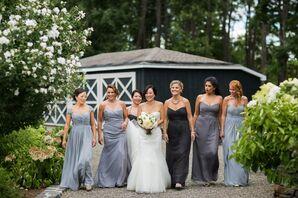 Mismatched Gray-Blue Bridesmaid Dresses