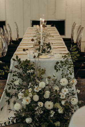 Green-and-White Reception Flower Arrangements