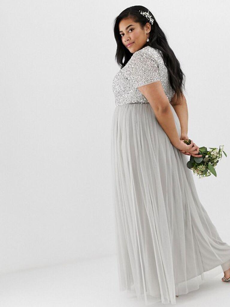Silver gray sequin bridesmaid dress