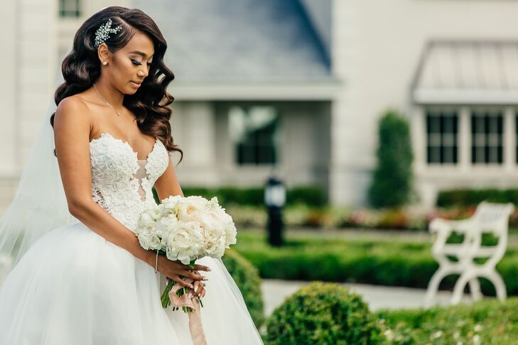 Glamorous Bride in Ball Gown with Crystal Headpiece