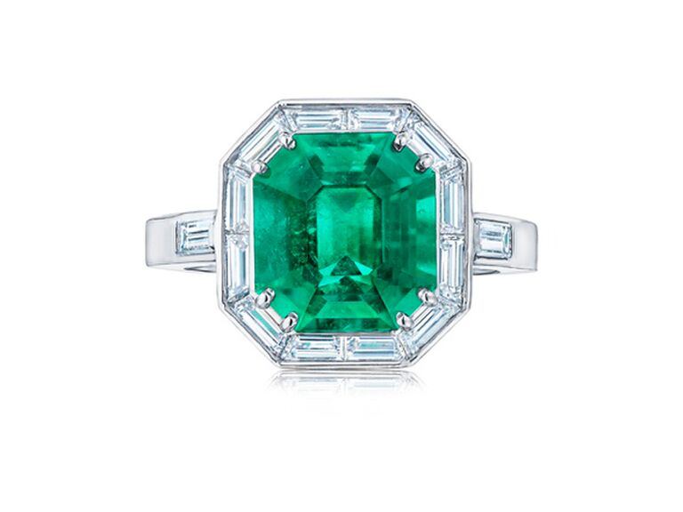Emerald-cut emerald engagement ring