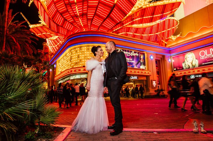 The couple wanted a low-key wedding day, so they opted to wing it for dinner and go where their guests wanted to go. They had a steak dinner and explored Las Vegas with their intimate group of friends.