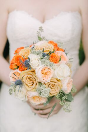 Warm Bouquet of Roses, Garden Roses and Thistle