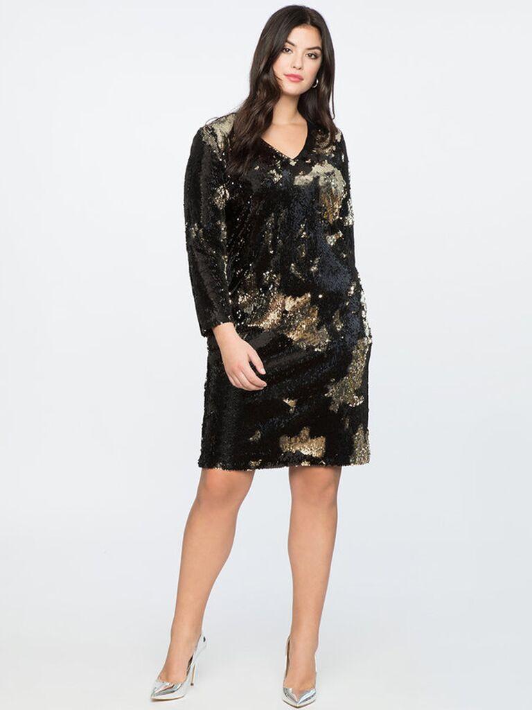 Eloquii long sleeve sequin shift dress winter bridesmaid dress