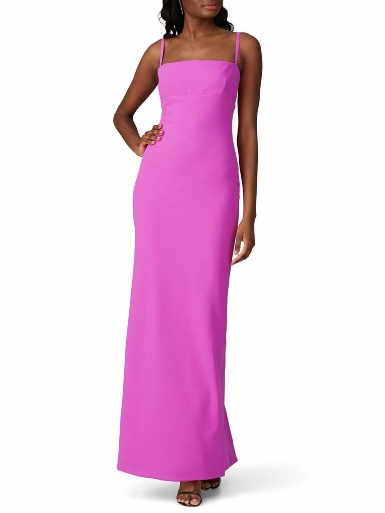 hot pink column gown with skinny straps