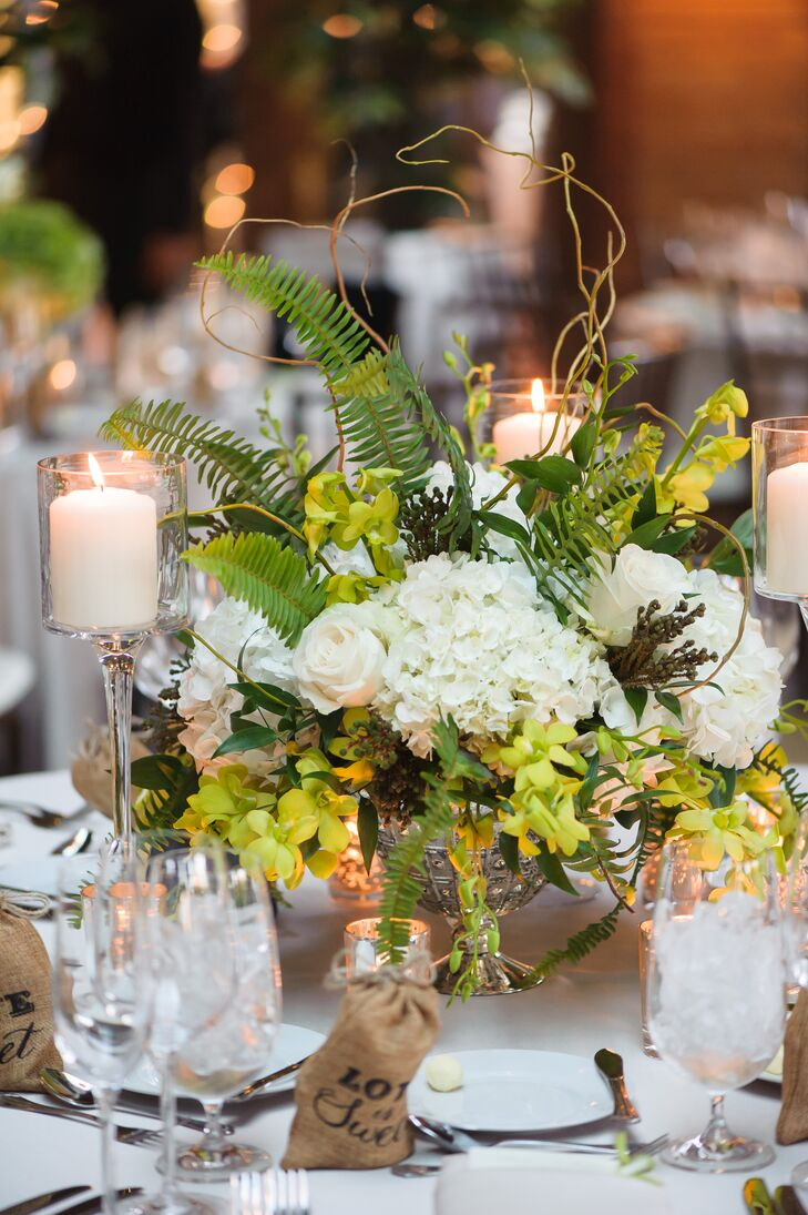 Green and White Centerpiece with Ferns and Hydrangeas