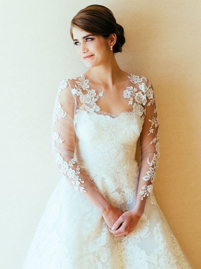 Long-sleeve wedding dress with lace and illusion sleeves